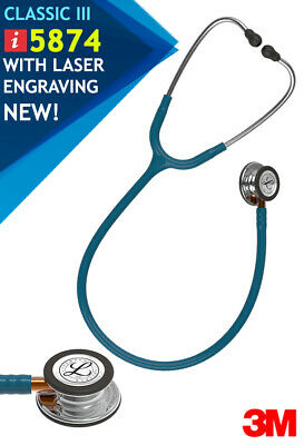 3M Littmann Classic III Stethoscope Caribbean Blue-Orange - FREE Laser Engraving
