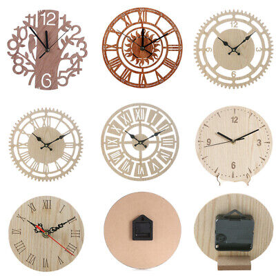 1x Wooden Wall Clock Creative Round Watch Silence Modern Design Home Deco HOD