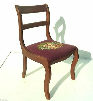 Vtg Wood Side Chair Hand Stitched Needlepoint Cushioned Seat