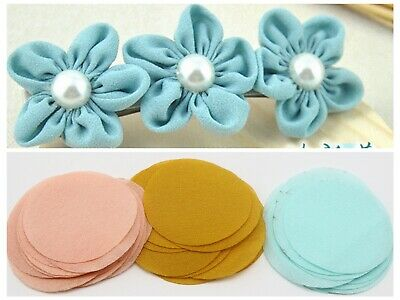100pcs Organza Fabric Circle Sheets 40mm Die Cuts Applique For Flower Making