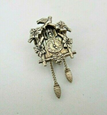 VINTAGE SILVER CHARM PENDANT DETAILED CUCKOO CLOCK WEIGHTS MOVE 2.5 g