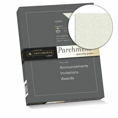 """Southworth Parchment Specialty Paper, 8 1/2"""" x 11"""", 24 Lb., Ivory, Pack Of 100"""