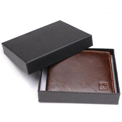 Genuine Leather Wallet Men Small Purse Black Brown Bifold Wallets Short