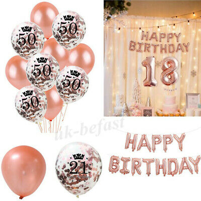 Rose Gold Latex Sequins, Happy Birthday Letters Balloons, 16/18/21/30/40/50/60th