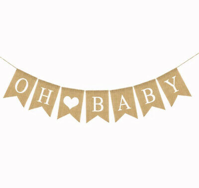 Oh Baby Banner Gender Reveal Decorations Burlap Hessian Boy or Girl Baby Shower