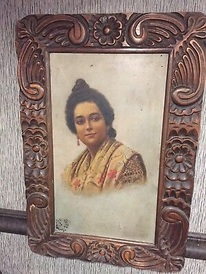 Antique Original Oil on Tin Painting Rita Acosta Portrait Carved Wood Frame