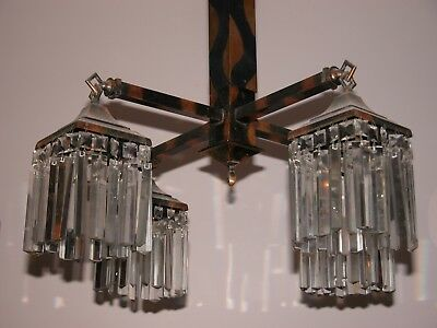 Rare Copper Flash Striations Chandelier Light Fixture 80 Prisms Deco Mission