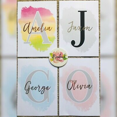 FOIL Watercolour Initial name A4 print Nursery christening baby gift Grey pink
