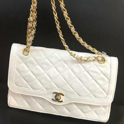 2ce4f2ed67c7a7 Auth CHANEL Shoulder Bag White Matelasse Vintage Flap Logo Quilted Medium  B3266