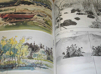 Japanese Sumi-e Brush Drawing Painting Art Model Book 9 Sketch Landscapes Pencil