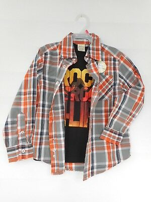 04209e08 Faded Glory Boys' 2 Piece Long Sleeve Woven Shirt with Graphic Tee Size XS 4