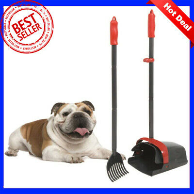 Dog Pet Pooper Scooper Waste Pick Up Clean Poop Handle Shovel Swivel Bin Rake