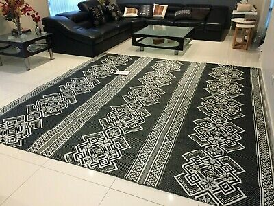2.8mX2.8m Recycled Plastic Rug Floor Mat Camping Picnic  Outdoor New Woven Black