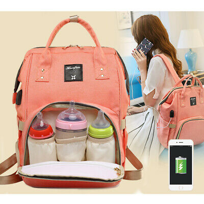 Baby Diaper Bag Mummy Maternity Nappy Outdoor Waterproof Backpack USB Charging