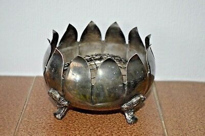 Vintage or antique Yeoman silver plate rose bowl with a frog