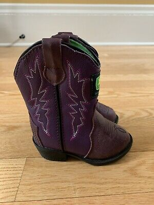 Girl John Deere Boots Purple Cowgirl Rodeo Shoes Toddlers Infants Size 4 Leather