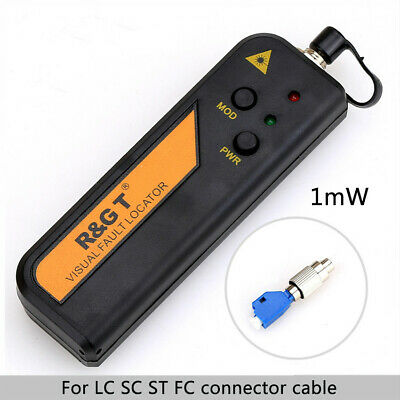 1mW Fiber Optic Visual Fault Locator Cable Tester 3-5km with LC/FC/SC/ST Adapter