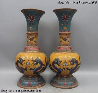 "22"" Chinese Royal Bronze Copper Cloisonne Dragons chasing Flaming Bead Vase Pair"
