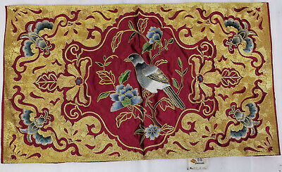 Antique Vintage Chinese Silk Embroidery Embroidered Panel Gold Gilt Thread Bird