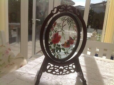 Oriental Oval Silk Embroidery Of Birds and Flowers on a Orintal Wooden Stand