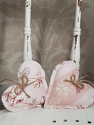 LAURA ASHLEY fabric chalk pink HANGING HEARTS new MORE HEARTS LISTED