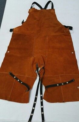 Leather Welding Bib Shop Apron Heat Resistant Blacksmith Mechanic Cowhide 24X42""