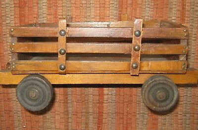Primitive Victorian toy wooden farm wagon to go with old horse on wheels, 12""