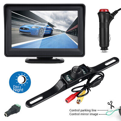 "Backup Reverse Camera Night Vision Kit Wireless 5"" Monitor Car Rear View System"