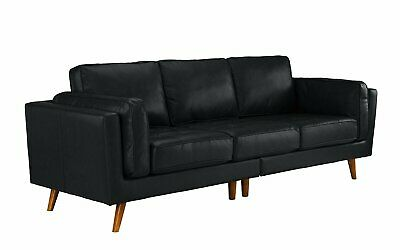 CONTEMPORARY MID CENTURY Modern Tufted Leather Sofa Couch w/ Wooden ...