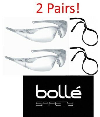 Bolle 40070 Rush Safety Glasses w/ Clear Anti-Scratch and Anti-Fog Lens - 2 Pair