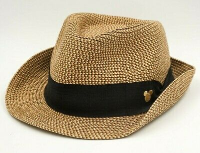 36d56cdc02a04 Disney Parks Straw Fedora Hat Mickey Mouse Adult 57cm Authentic Original  pre own