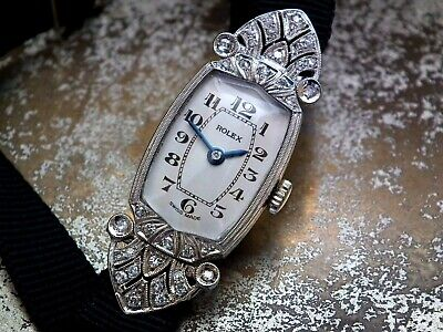 Just Beautiful 1920's Solid 18ct White Gold & Diamond Rolex Cocktail Watch