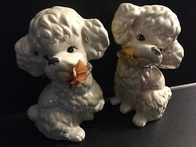 Vintage 2 Iridescent White, Blue & Pink Ceramic Poodle Banks