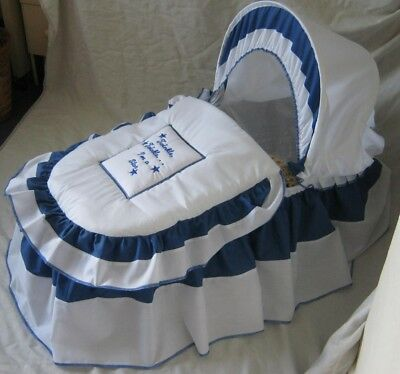 Twinkle Star Royal Blue And White Moses Basket Cover Set By Babyfanzone