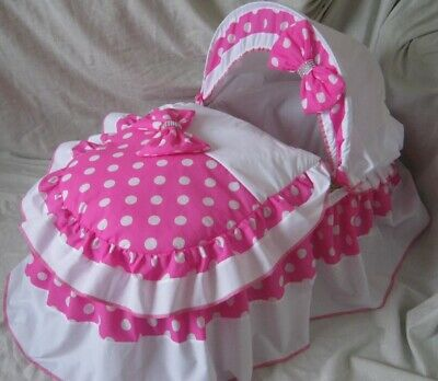 Pink And White Polka Dot Moses Basket Cover Set By Babyfanzone