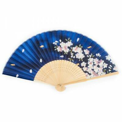 Japanese Folding Fan - Blue Cherry Blossom Silk & Bamboo Paper Oriental Fan