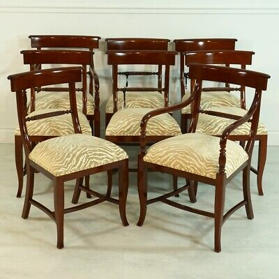 Set of 8 mahogany twist back traditional dining chairs with zebra pattern fabric