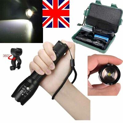 Tactical Police Torch Flashlight 6000LM T6 18650 Zoomable Hikingg Lamp 5 Modes