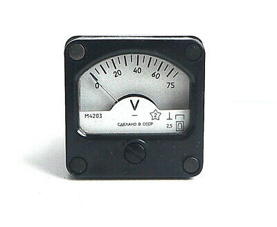 DC 0-75V Analog Dial pane Voltage Gauge Volt meter , USSR, RARE! Lot of 1 pcs