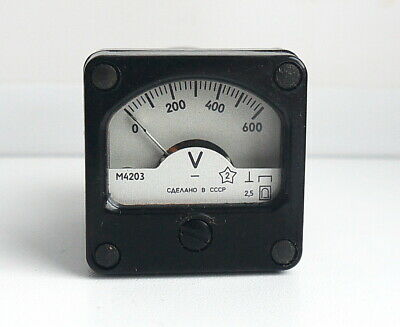 DC 0-600V Analog Dial pane Voltage Gauge Volt meter , USSR, RARE! Lot of 1 pcs