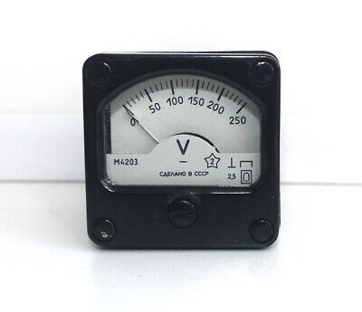 DC 0-250V Analog Dial pane Voltage Gauge Volt meter ,  USSR, RARE! Lot of 1 pcs