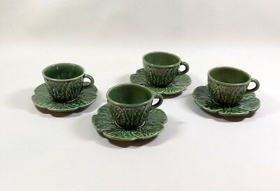 Lot of 4 - BORDALLO PINHEIRO Portugal Green Cabbage Demitasse Cup / Saucer Sets
