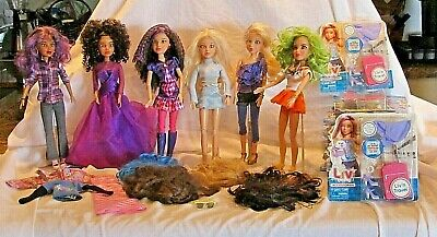 Spinmaster Liv Dolls Lot of 6 All Amazing Outfits&Wigs+Liv'n Travel-Bright+++++