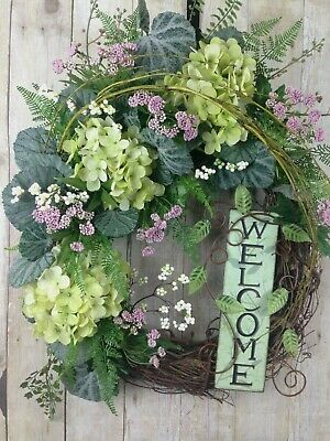 Spring Door Wreath Summer Hydrangea Welcome Sign Grapevine Floral