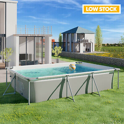 Outdoor Swimming Pool With Pump-Large Metal Rectangle Frame-10FT -Family Pool