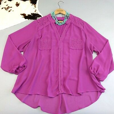 Torrid Size 3X Purple Lace Popover Top Semi Sheer Plus Women's 3/4 Sleeve Blouse