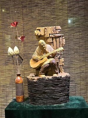 36'' old Thuja sutchuenensis tree wood carved old women play guitar statue
