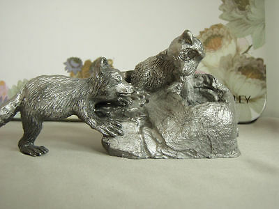 Vintage Pewter Raccoon pair scene, signed by Ben Cordsen, Limited Edition 40/500