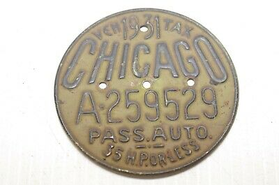 1931 Chicago Illinois Veh Tax Pass. Auto License Plate -Tag A259529