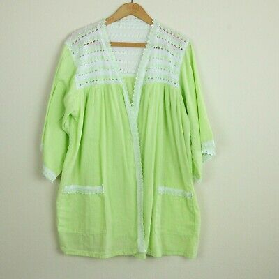 Vintage Handmade Womens Kimono Top Cotton Lace Green Lightweight S M L Open Boho